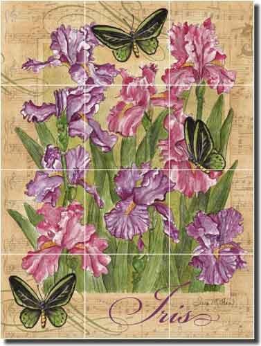 Butterfly Gardens - Iris by Sara Mullen - Flowers Floral Ceramic Tile Mural 24'' x 18'' Kitchen Shower Backsplash