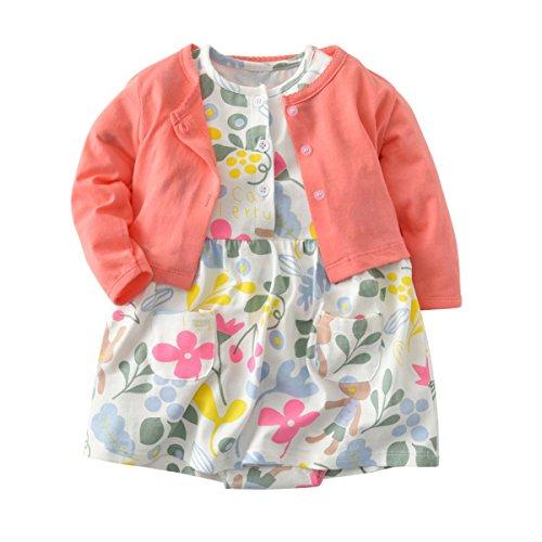 JIANLANPTT Cute 2pcs Baby Girls Dress Set Floral Toddler Romper Dresses + Coat