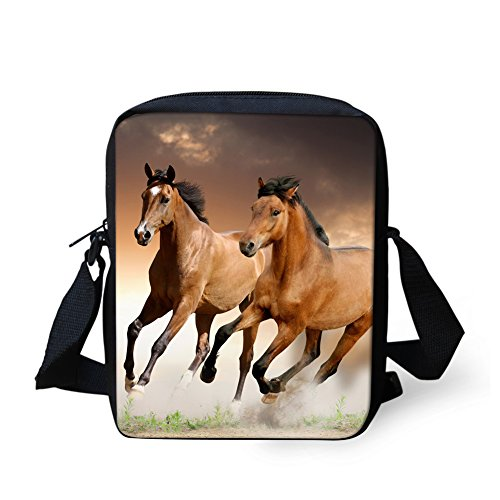 (HUGS IDEA Horse Pattern Casual Small Women's Shoulder Bags Travel Cell Phone Pouch Messenger Sling Bag)