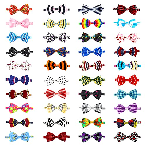 Dog Grooming Collar Bows, Segarty 40 Packs Bulk Pet Bow Ties with Adjustable Dog Bowtie Collar for Small Medium Dogs