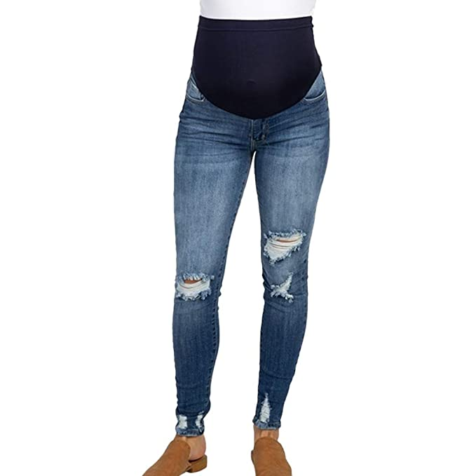 f6907e751c9a6 SAYEI Pregnant Woman Ripped Jeans Maternity Pants Trousers Prop Belly  Legging at Amazon Women's Clothing store: