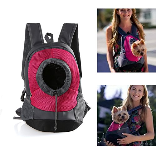 Wollgord Dog Carrier Backpack Pet Nylon Hiking Breathable Puppy Double Shoulder Bag Travelling Pokemon Knapsack Small Large (S, Rose-Red)