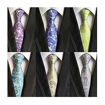 WeiShang Lot 6 PCS Classic Men's 100% Silk Tie Necktie Woven JACQUARD Neck Ties (Style 1)