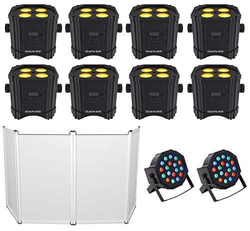 8) Chauvet DJ Ezlink Par Q4 BT Wireless Bluetooth Wash Lights+Facade+2) Par Cans -