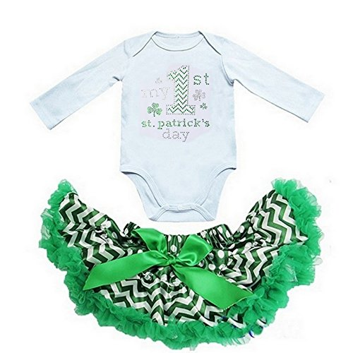 Kirei Sui Chevron Pettiskirt My 1st St Patrick's Day Bodysuit X-Small (St Patricks Outfits)
