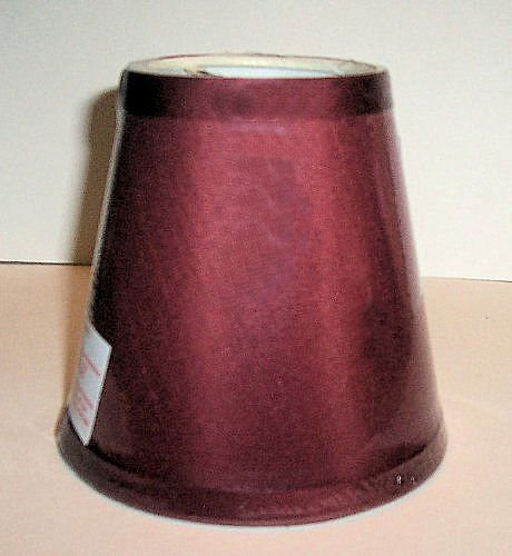 """""""ABC Products"""" - Small (XS) Candelabra Lamp Shade ~ Solid Color Fabric - Clips Over Bulb (Cranberry (Burgandy) Outside - White Inside Finish)"""