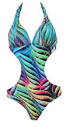 Stripes Tuta Monokini Costume stampato push Costume 3 Beach colorato da up bikini Halter Pattern Agogo Floreale bagno donna ZSAWXqww1