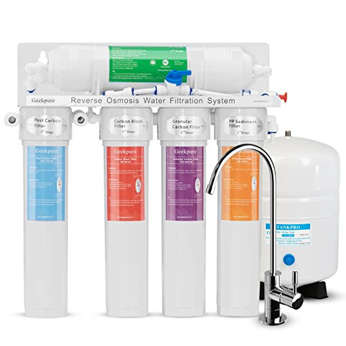 Geekpure 5-Stage the Best Simplest Installation Reverse Osmosis Drinking Water Filtration System-Quick Change Twist Filters-75GPD