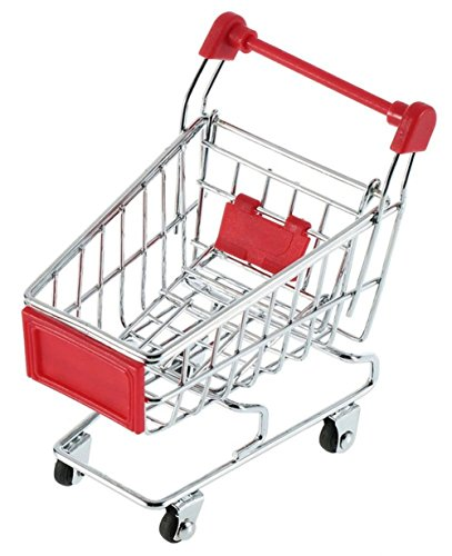 MagicW Mini Shopping Cart Trolley for Desktop Decoration Ornament Toys Novelty Mini Toy Shopping Cart - Pen/Pencil/PostIt Holder Desk Accessory Red