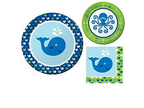 Nautical Ocean Preppy Whale Birthday or Baby Shower Party Supplies 16 Guest - Bundle Includes 3 Items: Dinner Plates, Dessert Plates & Napkins