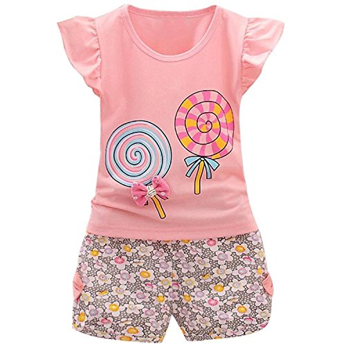 Adorable Cute Toddler Baby Girl Clothes Set Long Sleeve 2pcs Outfits Fall Clothes (Age(2T), Z-Pink) - Baby Clothes Girl 2t