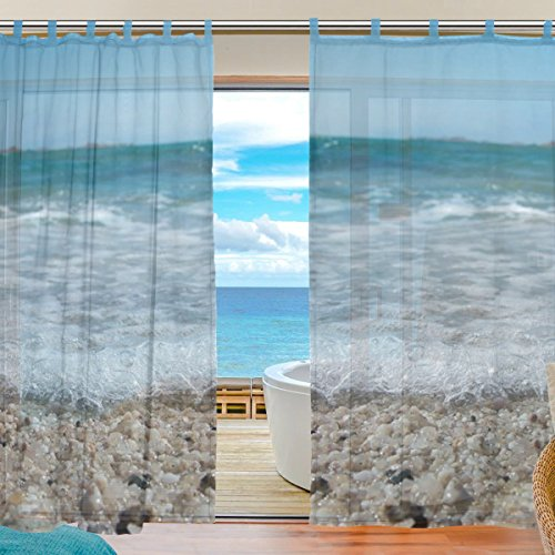 INGBAGS Bedroom Decor Living Room Decorations Beach Stones Sea Pattern Print Tulle Polyester Door Window Gauze / Sheer Curtain Drape Two Panels Set 55×78 inch ,Set of 2
