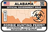 ALABAMA Type II Zombie Hunting Permit Sticker Size: 4.95x2.95 Inch (12.5x7.5cm) Decal