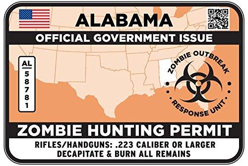 ALABAMA Type II Zombie Hunting Permit Sticker Size: 4.95x2.95 Inch (12.5x7.5cm) Decal
