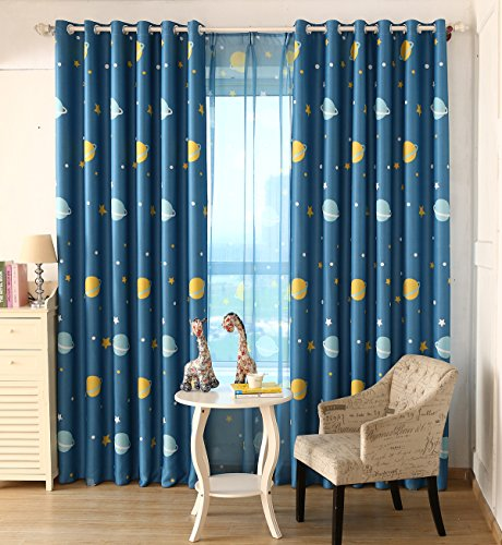 AiFish 1 Panel Blue Space Planet Galax and Little Star Pattern Lovely Blackout Curtains Window Treatment Drape Panels Space Exploration Kids Room Curtains for Boys Bedroom Grommet Top W52 x L96 inch (Discount Treatments Curtains And Window)