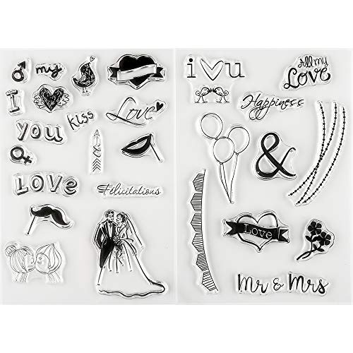 MaGuo Clear Stamps Wedding Love for Invitation Card Making Decoration and DIY Scrapbooking