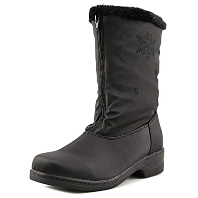 Round Toe Black Snow Boot for Women  Women Synthetic Mid Calf Black Winter Boot
