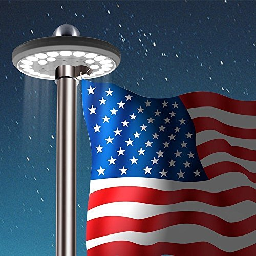 Solar Flag Pole Light Bright 26 LED Solar Powered Waterproof Mount Top Downlight Powerful 5th Gen - Hours Holiday Best Buy Canada