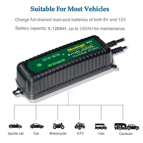 Mroinge MBC035 6V and 12V 3.5A Smart Vehicle Battery Charger/Maintainer for Cars, Motorcycles, RVs, TVs, Powersports, Boat and More Vehicle GEL WET AGM Batteries, With IP65 Waterproof by Mroinge (Image #2)