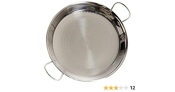 La Valenciana 36 cm Acero Pulido para Cocina de inducción Paella de cerámica con Asas, Negro, 36.0 cm