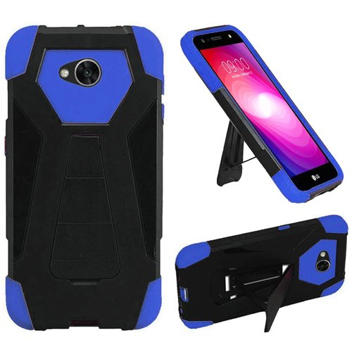 Phone Case for Simple Mobile LG Fiesta (Straight Talk) LG Fiesta-2 Tracfone / (Walmart Family Mobile) / LG X-Power-2 (Cricket) LG X-Charge Rugged Cover With Wide Stand (Wide Stand Black-Blue (Wal Mart Cell Phone Cases)