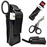 One Hand CAT Tourniquet Combat Application First Aid + Trauma Shear+ Molle Pouch - Ideal Gift for First Responder EMT Paramedics Soldiers Police and Many More