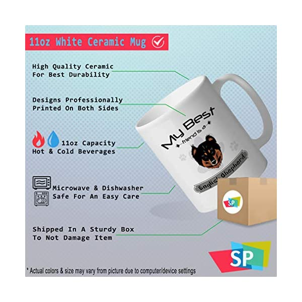 Custom Funny Coffee Mug Coffee Cup My Best Friend Is English Shepherd Dog White Ceramic Tea Cup 11 OZ Design Only 2