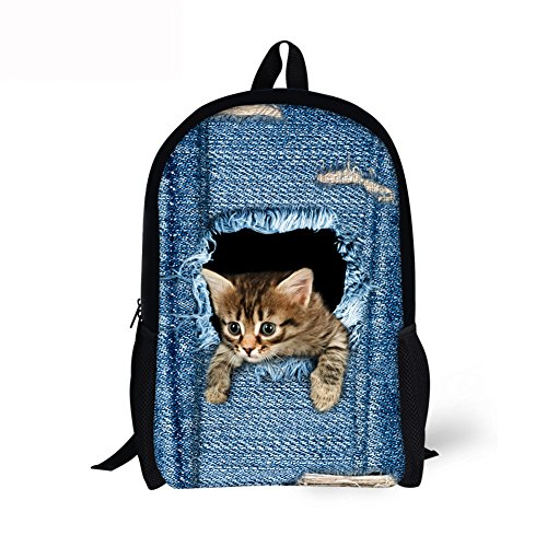 ThiKin Cute Cat Dog Animal Blue School Backpack For Boys Girls School Book Bags - FBA