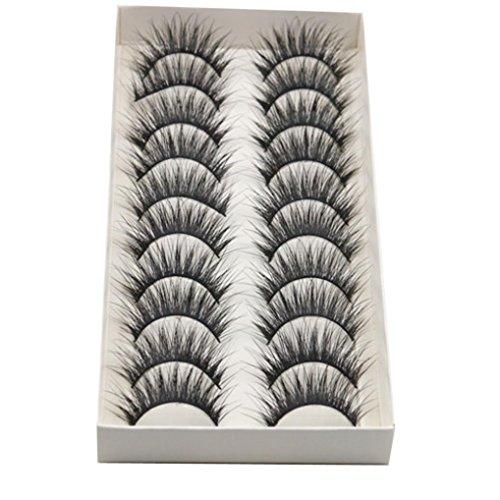 Long Cross False Eyelashes, Jinjin 10 Pairs Makeup Natural 3D Fake Thick Black Eye Lashes Soft Fake Lash (Black)