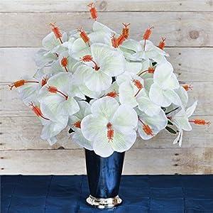 Efavormart 60 pcs Artificial Hibiscus Flowers for DIY Wedding Bouquets Centerpieces Party Home Decorations – 12 Bushes – White