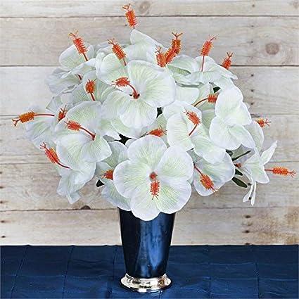 Balsacircle 60 White Hibiscus Flowers 12 Bushes Artificial Flowers Wedding Party Centerpieces Arrangements Bouquets Supplies