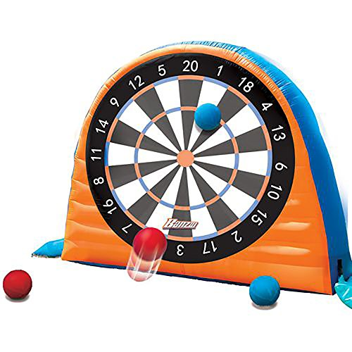Banzai Land Bouncer All Star Inflatable Outdoor Sports Kick Dartboard Game Set
