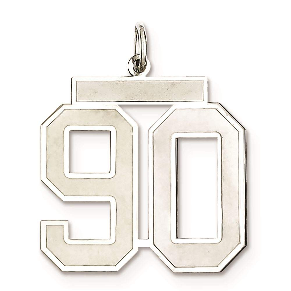 Sterling Silver Large Satin Number 90 Charm Pendant