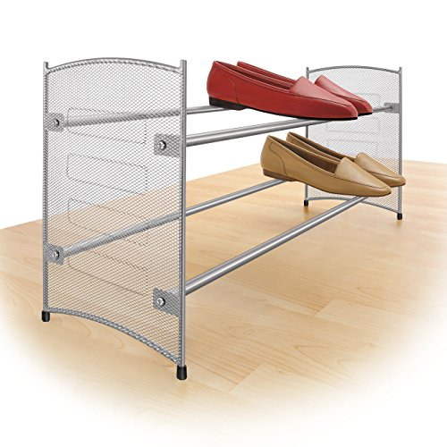 Lynk Expandable 2 Tier Stackable Shoe Rack - Steel Mesh Shoe Shelf -  Platinum - Stackable Shoe Rack Expandable