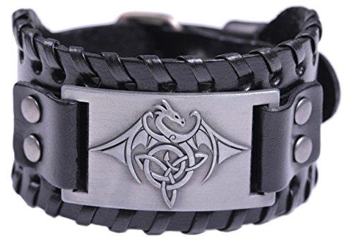 TEAMER Celtic Trinity Knot Triquetra Bracelet Wing Dragon Leather Bracelet Gift Jewelry for Men (Antique Silver,Black)