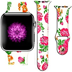Apple Watch Band, Stainless Steel Replacement Strap Wrist Band for Apple Watch Sport & Edition - 42mm - Valentine Design Simple Love Hearts Graffiti