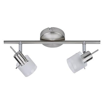Biard Vermont Lámpara Aplique de Techo + 2 Focos - Barra Riel Orientable 360° para Iluminación de Interior - Vidrio y Níquel Satinado (Carril de ...