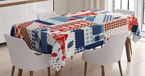 Scottish Farm - Ambesonne Farmhouse Decor Tablecloth, Country Featured Mix Scottish Alternating Houndstooth and Polka Dot Patterns, Dining Room Kitchen Rectangular Table Cover, 60W X 84L inches, Blue Red