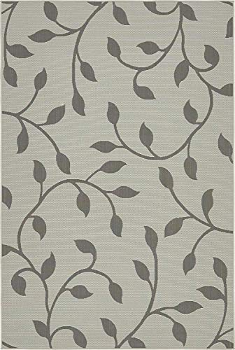 Unique Loom Outdoor Botanical Collection Floral Vines Transitional Indoor and Outdoor Flatweave Gray  Area Rug (6' 0 x 9' 0)