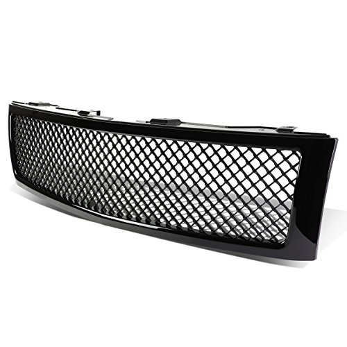 (For Chevy Silverado 1500 GMT900 ABS Plastic Mesh Style Front Upper Grille (Glossy Black))