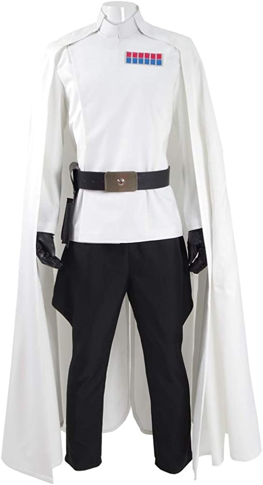 Rongxu Mens Imperial Officer Cosplay Costume Battle Uniform White Cloak Coat Pants Full Set Halloween Outfits US Size