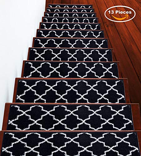 - Sussexhome Stair Treads Trellisville Collection Contemporary, Cozy, Vibrant and Soft Stair Treads | Navy & White, 9