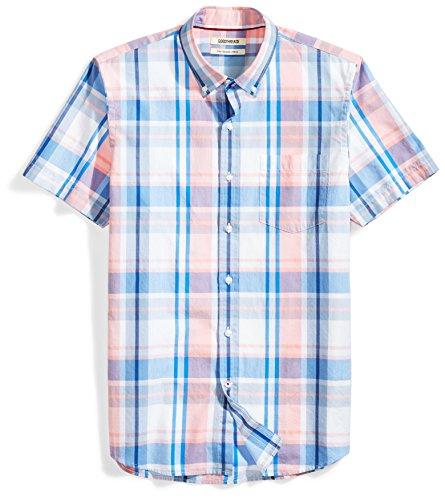 Goodthreads Men's Slim-Fit Short-Sleeve Large-Scale Plaid Shirt, Pink/blue, Medium