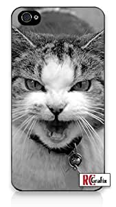 Angry & Mean Kitty Cat w/ Attitude iPhone 5 Quality Hard Snap On Case for iPhone 5/5s - AT&T Sprint Verizon - Black Frame
