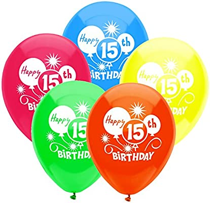 Amazon PartyMate 24632 Happy 15th Birthday Printed 12 Inch Latex Balloons 8 Count Assorted Colors Kitchen Dining