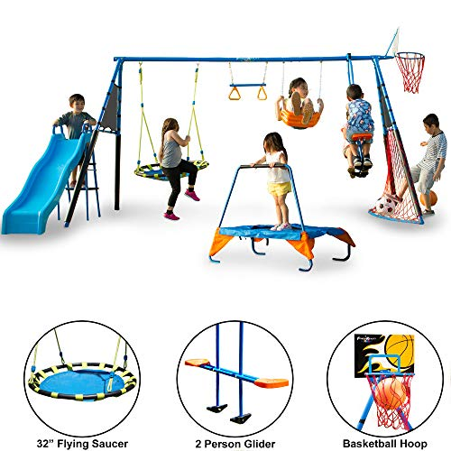 FITNESS REALITY KIDS 'The Ultimate' 8 Station Sports Series Metal Swing Set (Little People Jump And Play Swing Set)