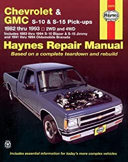 chevrolet and gmc s10 s 15 pick ups workshop manual 1982 1993 rh amazon com 1999 Chevrolet S10 1998 Chevrolet S10 Seats