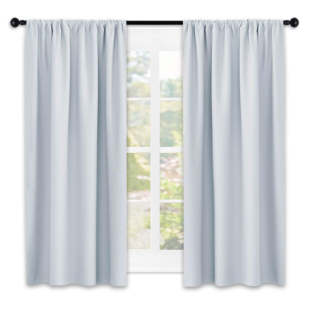 NICETOWN Greyish White Window Curtain Panels - Thermal Insulated Rod Pocket Room Darkening Curtain Sets for Bedroom (Platinum - Greyish White,2 Panels,42 by 45) by NICETOWN (Image #1)