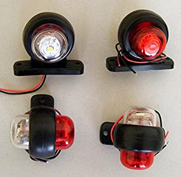 2x LED Outline Side marker lights 12//24V RED//WHITE for SUV Offroad Trailer Truck Motorhome Caravan Chassis