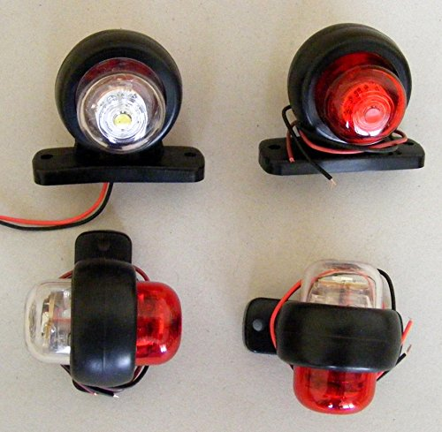 Lot de 4  indicateurs lumineux arriè re LED pour camion, remorque, bus, 4x4, caravane, van - Blanc/rouge - 24  V van - Blanc/rouge - 24 V